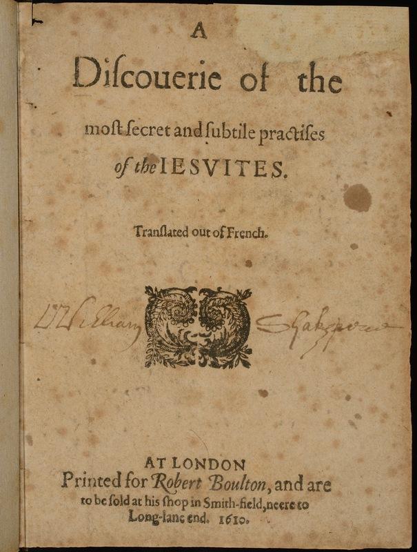 Ireland, William Henry. His 'improved' copy of John Camilton, <em>A Discoverie of the Most Secret and Subtile Practises of the Jesuits</em>