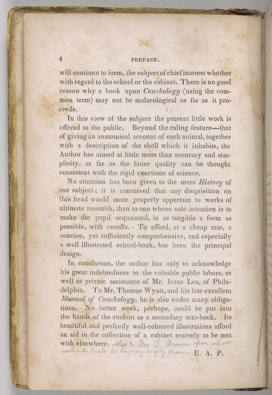 The Conchologist's First Book, Preface with Poe's annotations