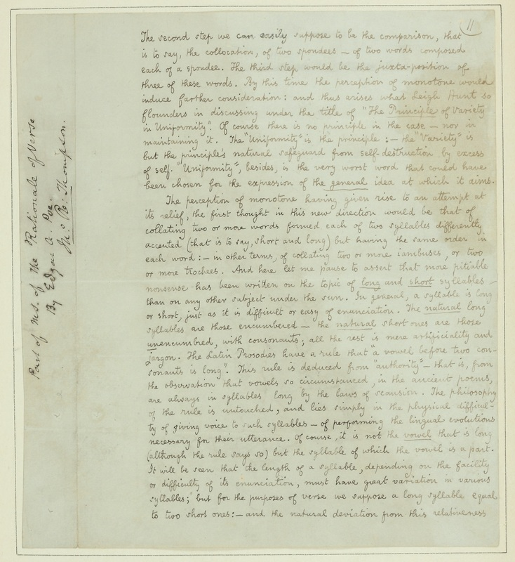 "Manuscript page from ""The Rationale of Verse"""