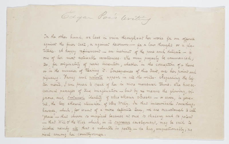 "Manuscript fragment of ""Literary America"" with writing about Frances Sargent Osgood"