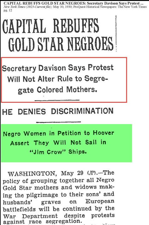 Black Gold Star Mothers (New York Times Article 1930)