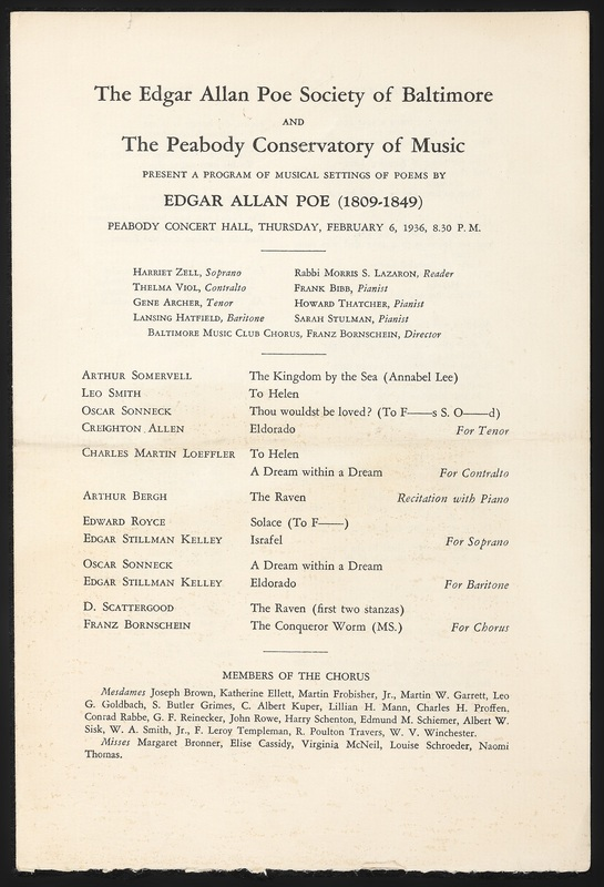 A Program of Musical Settings of Poems by Edgar Allan Poe