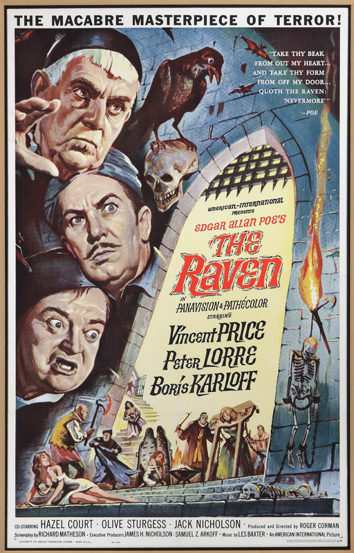 Poster for The Raven, directed by Roger Corman, with Vincent Price, Peter Lorre, and Boris Karloff