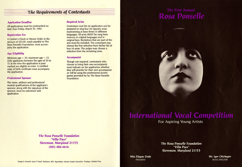 Brochure for The First Annual Rosa Ponselle International Vocal Competition, 1984