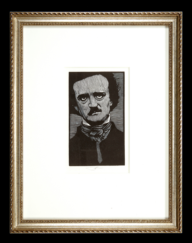 Woodblock portrait of Edgar Allan Poe