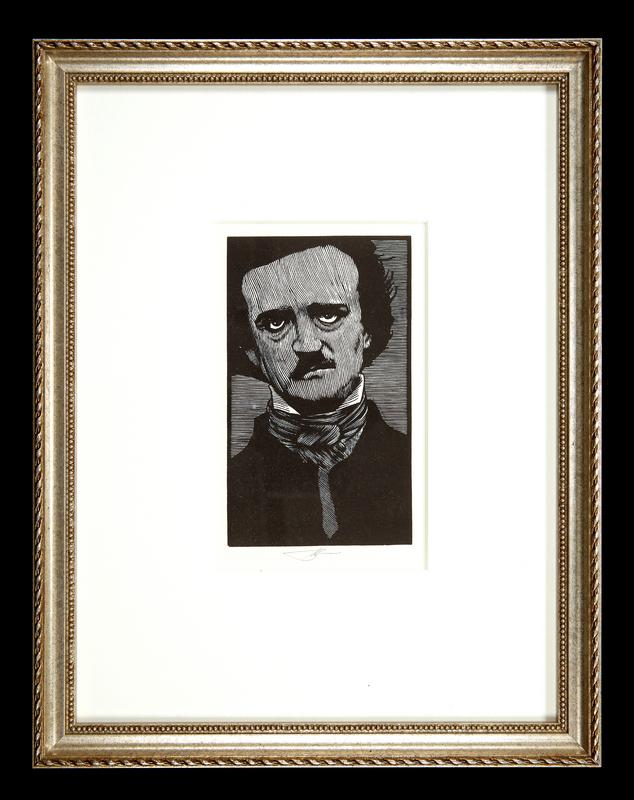 Woodblock portrait of Edgar Allan Poe