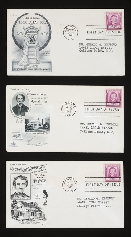 Covers of 3-cent Edgar Allan Poe stamp