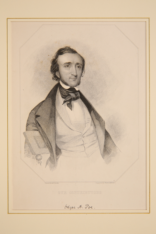 Steel engraving portrait of Edgar Allan Poe