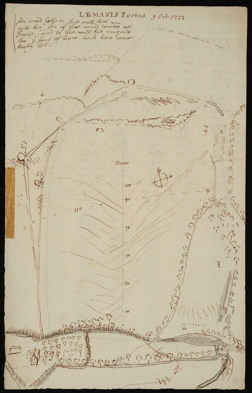 Drawing headed 'Lemanis Portus' [Lympne, Kent] and dated October 1722, with a few notes; on the verso are Stukeley's notes on the Elham River, which 'ran this year 1724 & has not run of 6 years before, or more'