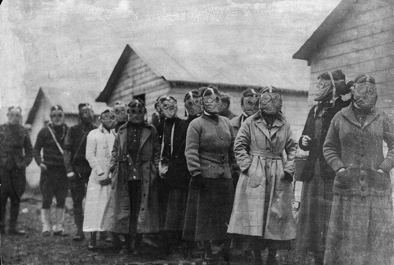 Johns Hopkins Hospital Nurses in World War I, wearing gas masks, 1918