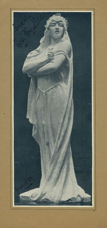 Photograph of Rosa Ponselle Statue outside of I Miller Building with Autograph