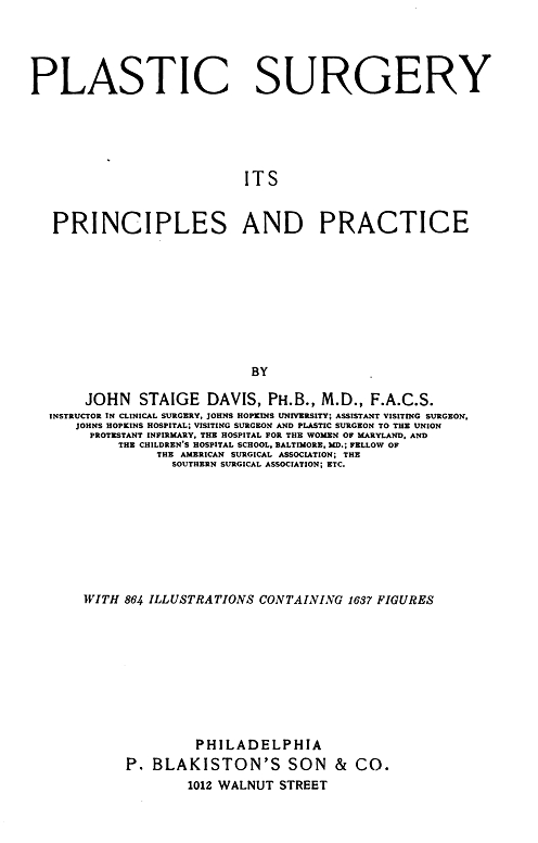 Selected pages from <em>Plastic Surgery: Its Principles and Practices</em>