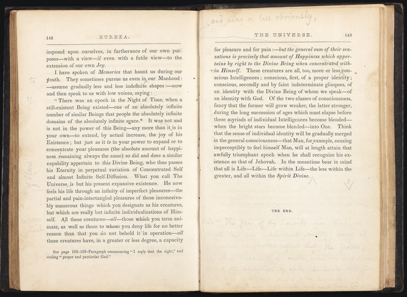 Last pages of Eureka: A Prose Poem, with Poe's annotations