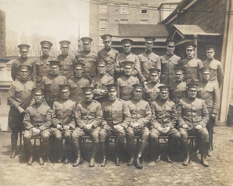 Medical officers at Johns Hopkins Base Hospital 18, group portrait, 1917