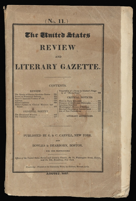 Cover of the United States Review & Literary Gazette