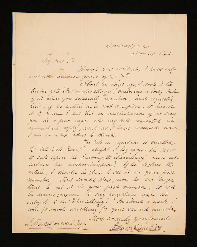 First page of letter to James Russell Lowell