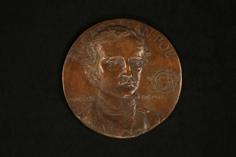 Bronze medallion portrait of Edgar Allan Poe