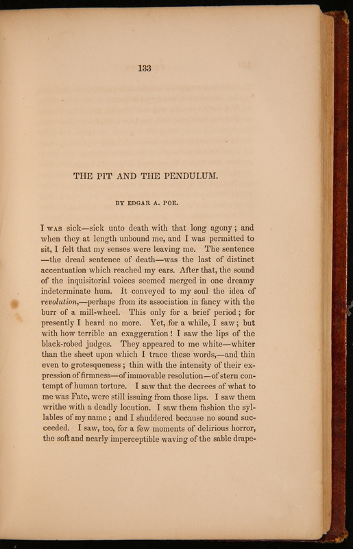"The first page of ""The Pit and the Pendulum"""