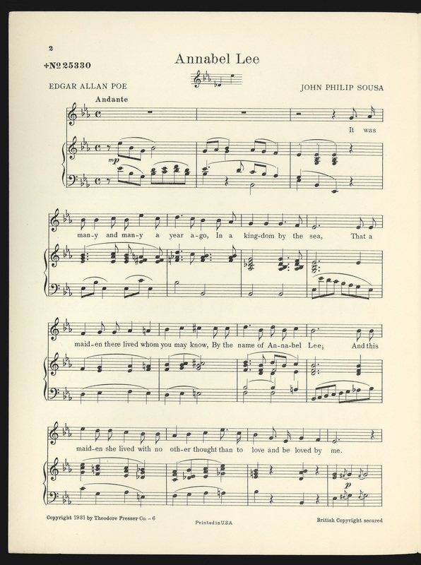 "First page of ""Annabel Lee: Song"" sheet music"