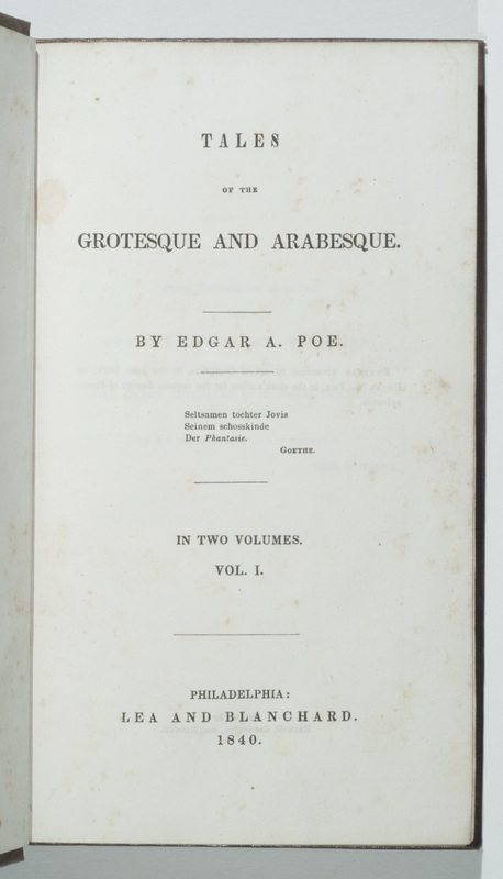 Title page of Tales of the Grotesque and Arabesque, volume I