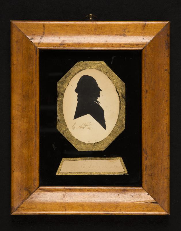 Cut-paper silhouette portrait of Edgar Allan Poe