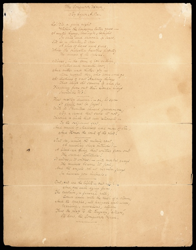 "Manuscript of ""The Conqueror Worm"""