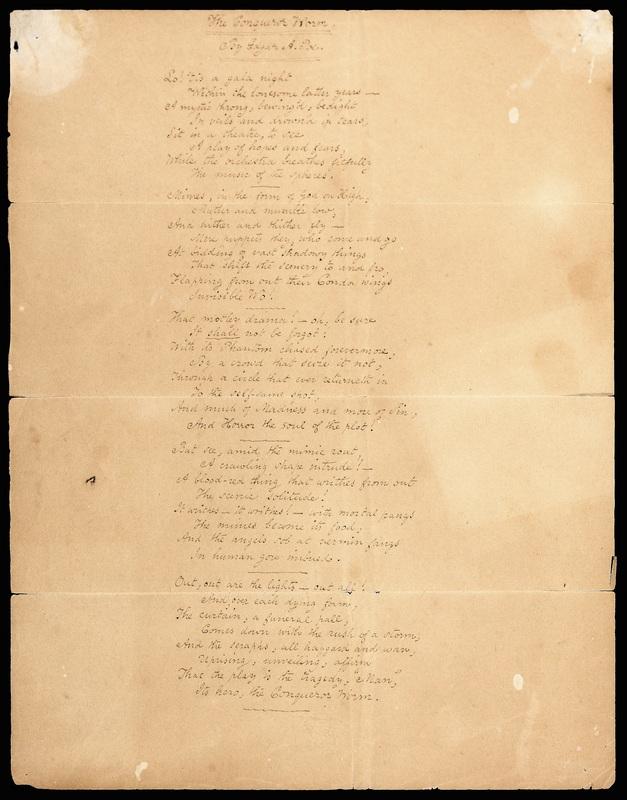 "Manuscript of ""The Conqueror Worm"""