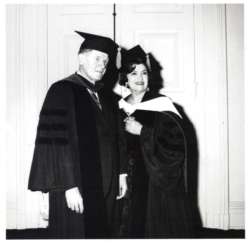 Photograph of Rosa Ponselle with Director Charles Kent receiving an Honorary Degree at Peabody Commencement, 1965