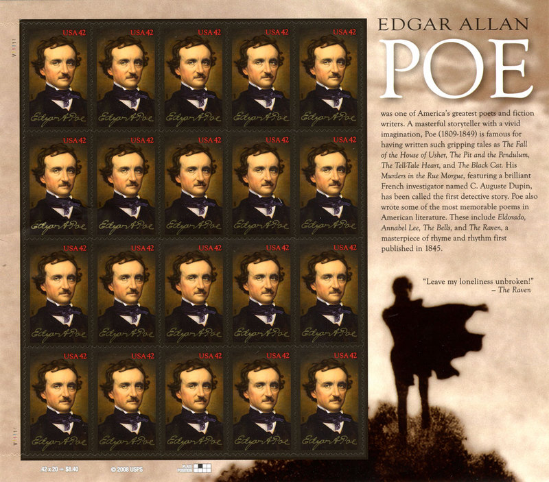 First day of issue Edgar Allan Poe 42-cent stamp sheet