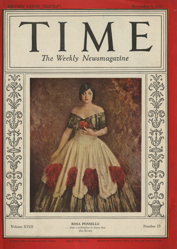 Cover of Time Magazine in Chandler Ross Painting, November 19, 1931