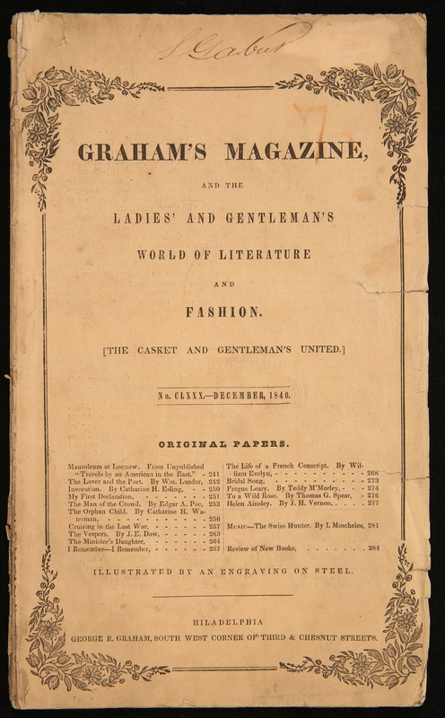 "Cover of Burton's Gentleman's Magazine/The Casket/Graham's Magazine, with ""The Man of the Crowd"""