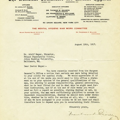 Memo from Frankwood Williams to Adolf Meyer