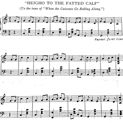 "Music and lyrics to ""Heigho the Fatted Calf"""