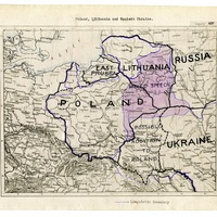 Map and text delineating boundaries of Poland, Lithuania, and Western Ukraine