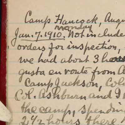 William Welch, Diary 11, military camp inspection trips, January, 1918