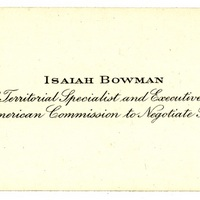 Isaiah Bowman Name Card