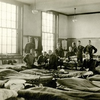 Student Army Training Corps cadets in barracks