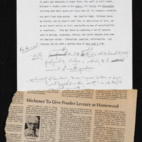 Introduction for James Michener reading, with article from the Hopkins News-Letter