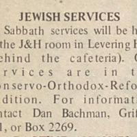 "Pan-<a href=""http://exhibits.library.jhu.edu/exhibits/show/jews-at-hopkins/glossary"" target=""_blank"">denominational</a> Friday night services"