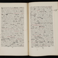Page from Finnegans Wake, with John Barth's notes