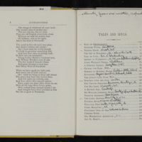Table of contents, Tales of the Chesapeake, with Barth's notes