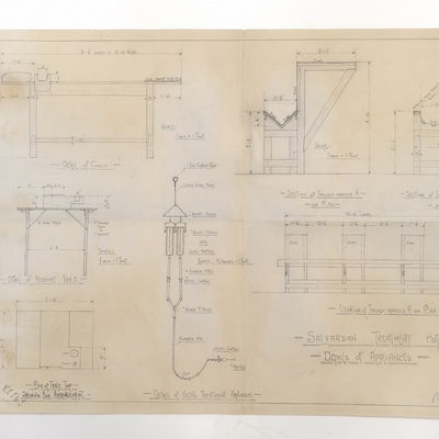Draft plans for a Salvarsan Treatment Hut. Details of Appliances.