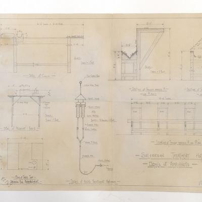 Draft plans for a Salvarsan Treatment Hut. Details of Appliances.