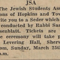 "University <a href=""http://exhibits.library.jhu.edu/exhibits/show/jews-at-hopkins/glossary"" target=""_blank"">Passover Seder</a>"