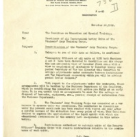 Student Army Training Corps Demobilization Memo