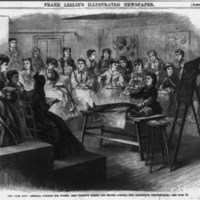 """""""The anatomy lecture room at the Woman's Medical College of New York Infirmary,"""" Frank Leslie's Illustrated Newspaper, April 16, 1870. (Library of Congress)"""