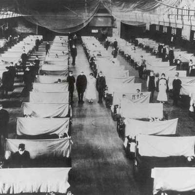 One of the many makeshift hospitals that went up in American cities during the pandemic