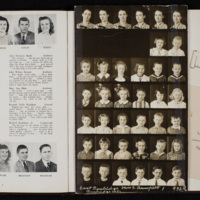 Page from The Yearling 1947, with Barth's high school graduation announcement and page of photographs from East Cambridge Elementary School