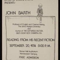 Poster for John Barth public reading