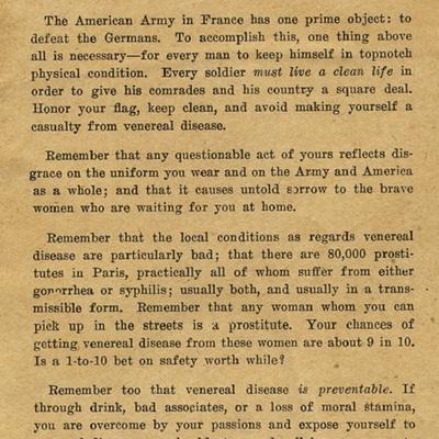 Soldiers! Avoid venereal disease. Venereal Disease Information Card